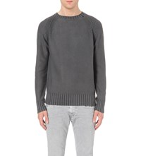 Replay Zip Hem Knitted Jumper Charcoal