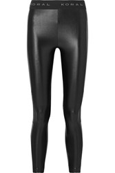 Koral Emblem Cropped Mesh Paneled Stretch Leggings Black