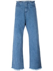 Marques Almeida Marques'almeida Loose Fit Long Jeans Blue