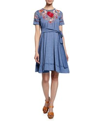 Johnny Was Burke Embroidered Short Sleeve Tie Waist T Shirt Dress French Blue
