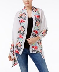 Inc International Concepts Embroidered Floral Scarf Only At Macy's White Multi