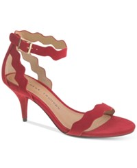 Chinese Laundry Rosie Two Piece Scalloped Dress Sandals Women's Shoes Red