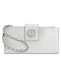 Tommy Hilfiger Leather Chain Wristlet Wallet Silver