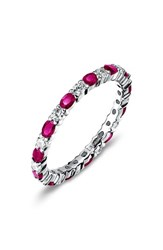 Lafonn Women's Simulated Diamond Birthstone Band Ring July Ruby