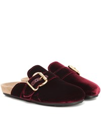 Prada Velvet Slippers Red