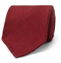 Drakes Drake's 8Cm Wool Silk And Cashmere Blend Tie Red