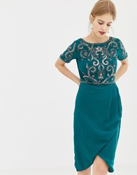 Frock And Frill Skater Dress With Embellished Upper Green