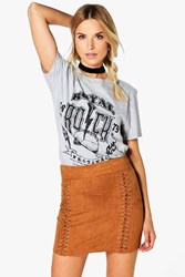 Boohoo Lace Up Suedette Mini Skirt Taupe