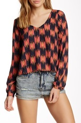 Astr Long Sleeve Woven Swing Blouse Multi