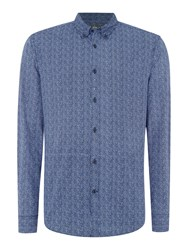 Linea Porter Long Sleeve Geo Print Shirt Blue