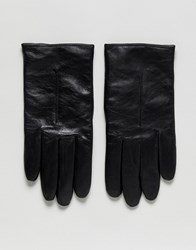 Boss Herrys Leather Driving Gloves In Black