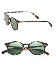 Oliver Peoples Delray 48Mm Round Sunglasses Tortoise Green