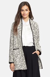 Rebecca Taylor Tweed Coat Black White