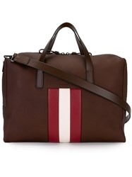 Bally Striped Detail Tote Brown