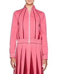 Valentino Zip Front Jersey Track Jacket With Insets Pink Red