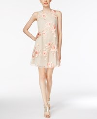 Eci Tie Back Embroidered Mesh Dress Coral Nude