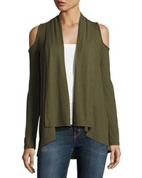 Casual Couture Cold Shoulder Open Front Cardigan Olive