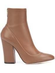 Sergio Rossi Rear Zip Ankle Boots Brown
