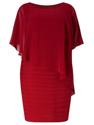 Adrianna Papell Short Sleeve Popover Bandeau Dress Red