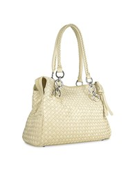 Fontanelli Ivory Woven Italian Suede And Leather Satchel Bag