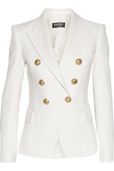 Balmain Double Breasted Basketweave Cotton Blazer White