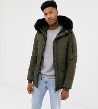 Sixth June Parka Coat In Khaki With Black Faux Fur Hood Exclusive To Asos Green