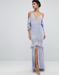 Dark Pink Bardot Maxi Dress With Lace Inserts Grey Blue