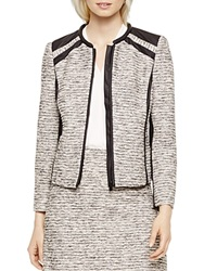 Vince Camuto Faux Leather Trim Tweed Jacket Antique White
