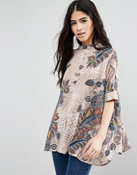 Only Floral Smart Boxy Top Feather Print Multi