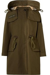 Burberry Oversized Hooded Cotton Gabardine Parka Army Green