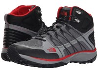 The North Face Litewave Explore Mid Monument Grey Pompeian Red Men's Hiking Boots Black