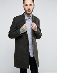 Asos Harris Tweed Overcoat In Khaki Melange Khaki Green