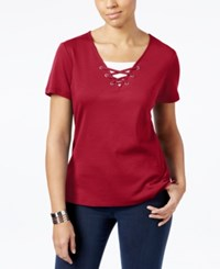 Karen Scott Cotton Lace Up Layered Look Top Only At Macy's New Red Amore