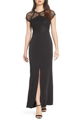 Harlyn Lace Cap Sleeve Gown Black