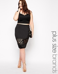 Club L Plus Size Pencil Skirt With Cutwork Detail Black