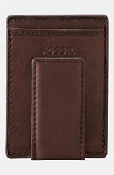 Men's Fossil Money Clip Wallet Brown