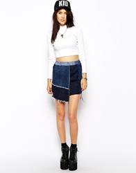 The Ragged Priest Reworked Vintage Patch Denim Panel Skirt Blue