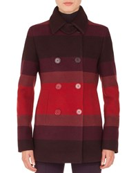 Akris Punto Double Breasted Multicolor Stripe Wool Coat Red Pattern