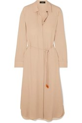 Theory Belted Silk Crepe De Chine Dress Beige