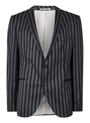 Selected Blue Homme Navy Bold Stripe Slim Fit Blazer