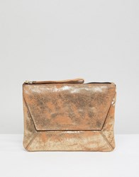 Oasis Fold Over Metallic Clutch Gold