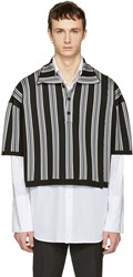 Raf Simons Black And Grey Stripe Oversized Cropped Polo
