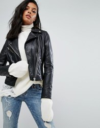 Barney's Leather Jacket With Quilted Detail Black