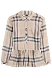 Burberry Brit Printed Cotton Blouse With Peplum Multicolor