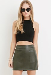 Forever 21 Faux Leather Mini Skirt Olive