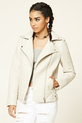 Forever 21 Faux Leather Moto Jacket Nude