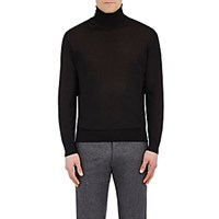Cifonelli Men's Cashmere Silk Turtleneck Sweater Black Blue Black Blue