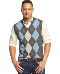 Club Room Cotton Argyle Vest Only At Macy's Charcoal Heather