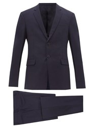Prada Single Breasted Mohair Blend Two Piece Suit Navy