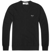 Comme Des Garcons Play V Neck Jumper Black